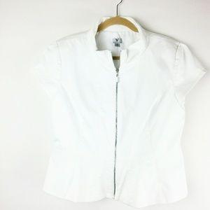 Worthington Short Sleeve Zip Up Peplum Top Sz. XL